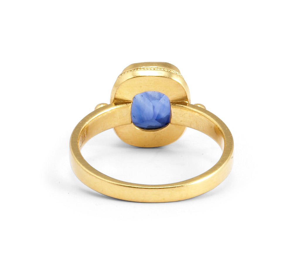 Blue Sapphire 3.59ct Faceted 22Kt Gold Handmade Ring