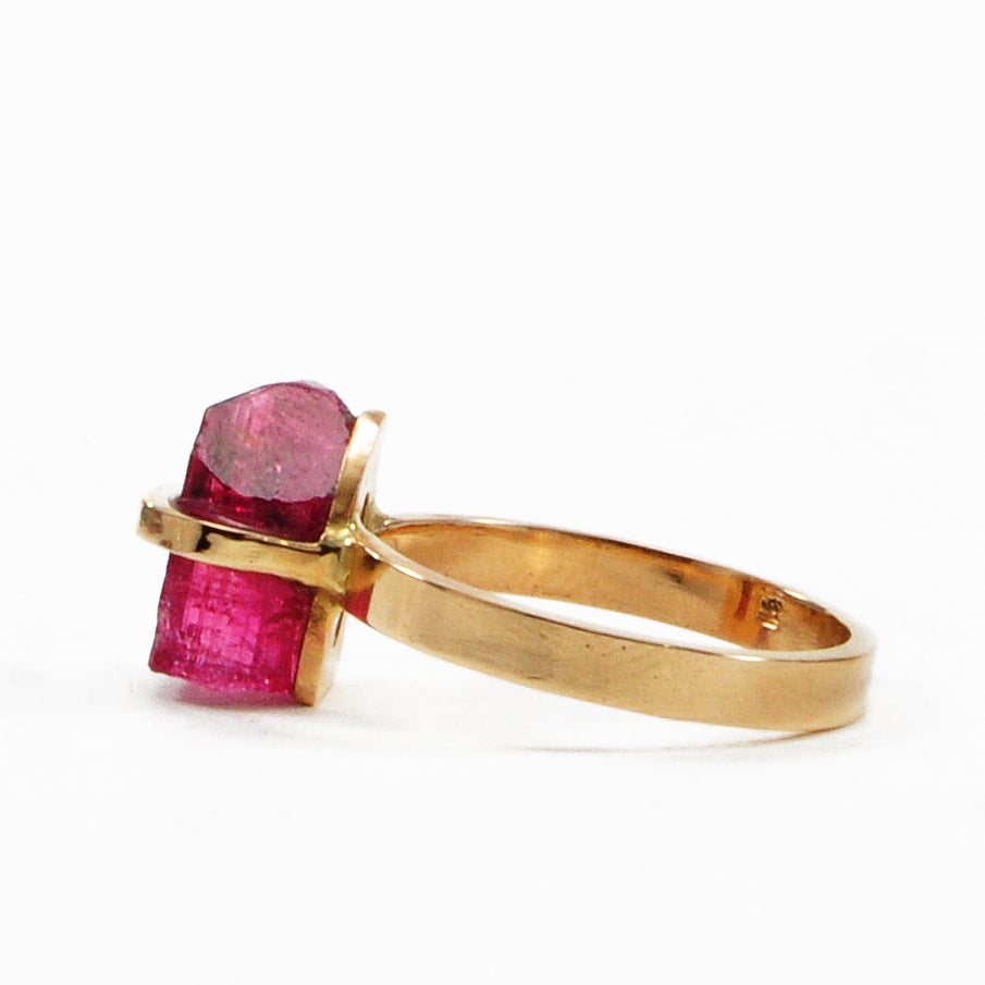 Rubelite Tourmaline 4.48ct Natural Gem Crystal 14k Handcrafted Ring