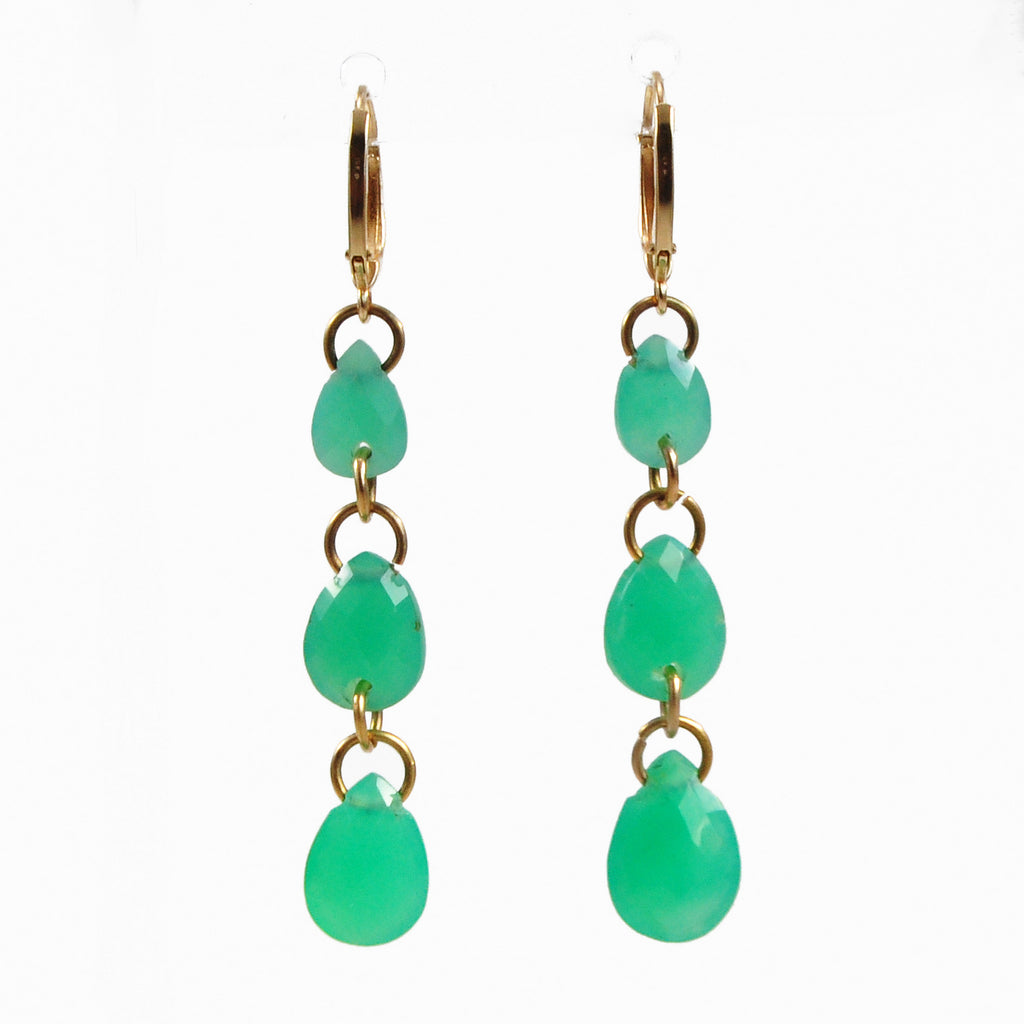 Chrysoprase 40.64mm 14.0 ct Faceted Three-Tier Handcrafted 14K Gemstone Earrings