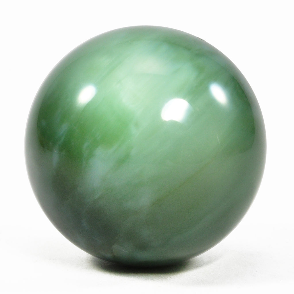 Chatoyant Nephrite Jade 1.91 inch 0.39 lbs Natural Crystal Polished Sphere - Russia