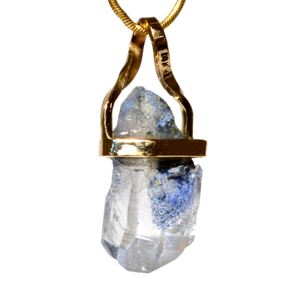 Dumortierite in Quartz 10.73 ct 14K Handcrafted Natural Crystal Pendant