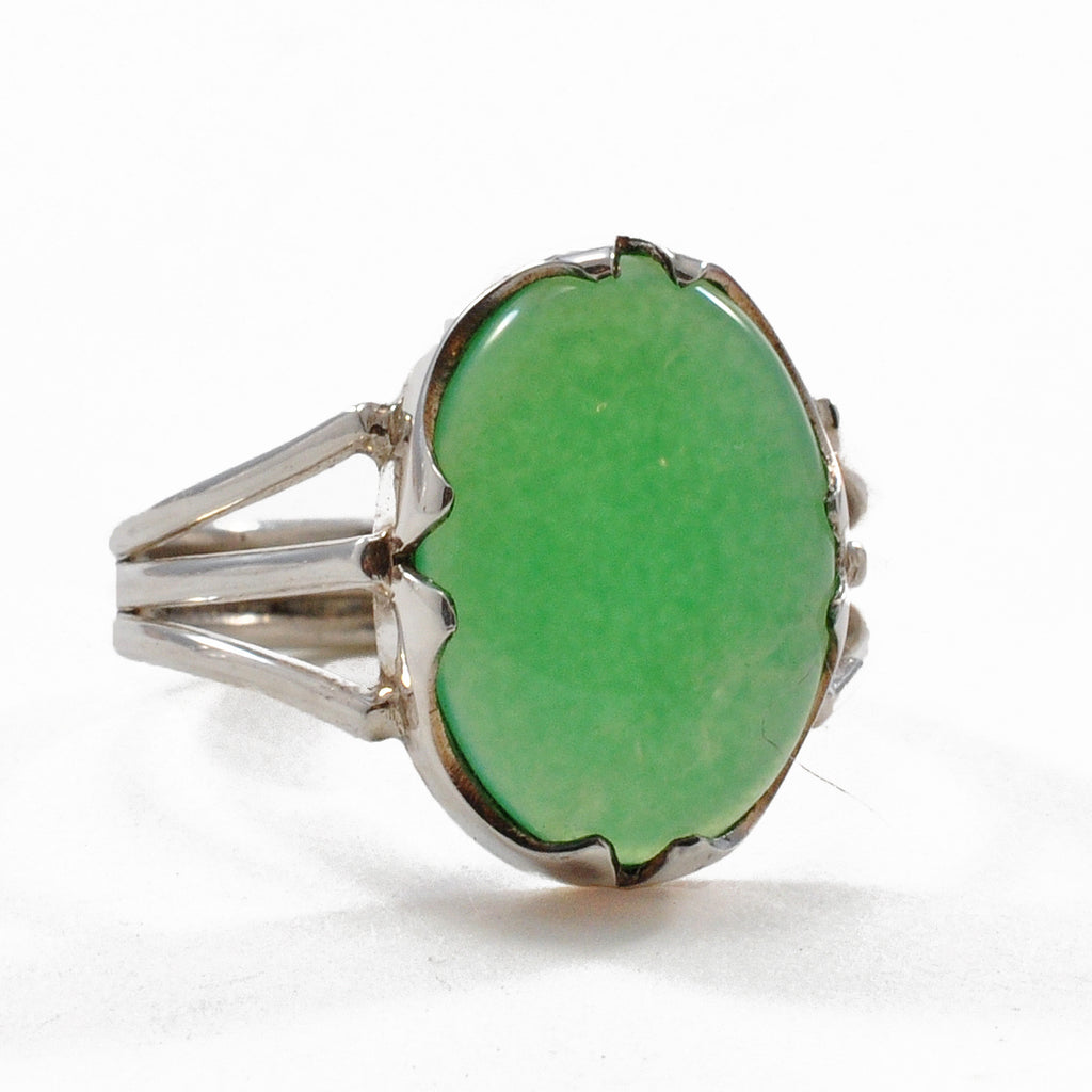 Chrysoprase 13.2 mm Oval Cabochon Sterling Silver Handcrafted Gemstone Ring