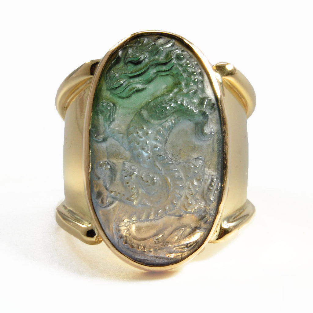 Multi-Color Tourmaline 24.63 mm 17.06 carats Natural Crystal Dragon Carving 18K Handcrafted Gemstone Ring