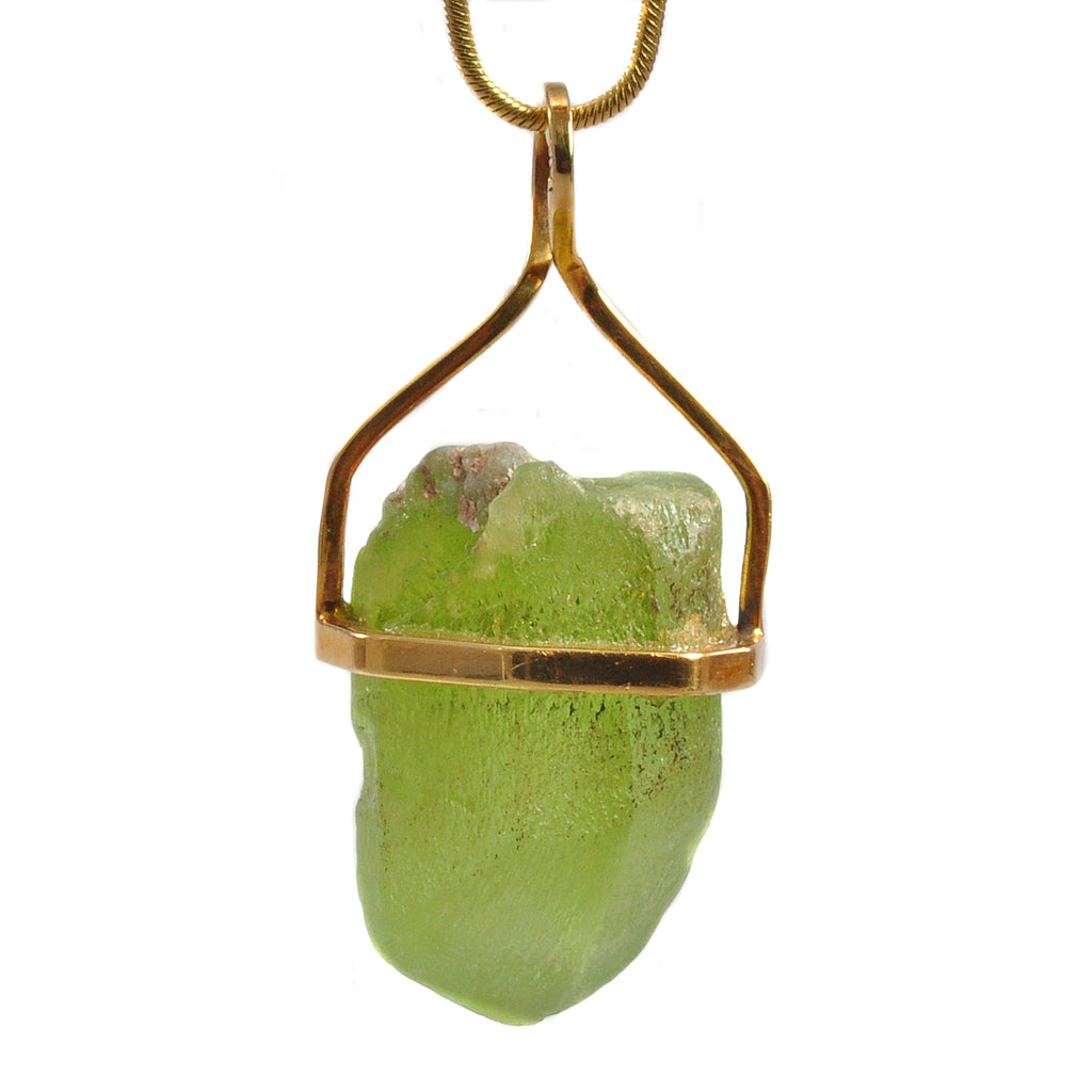 Peridot Natural Gem Crystal 18k Handcrafted Pendant