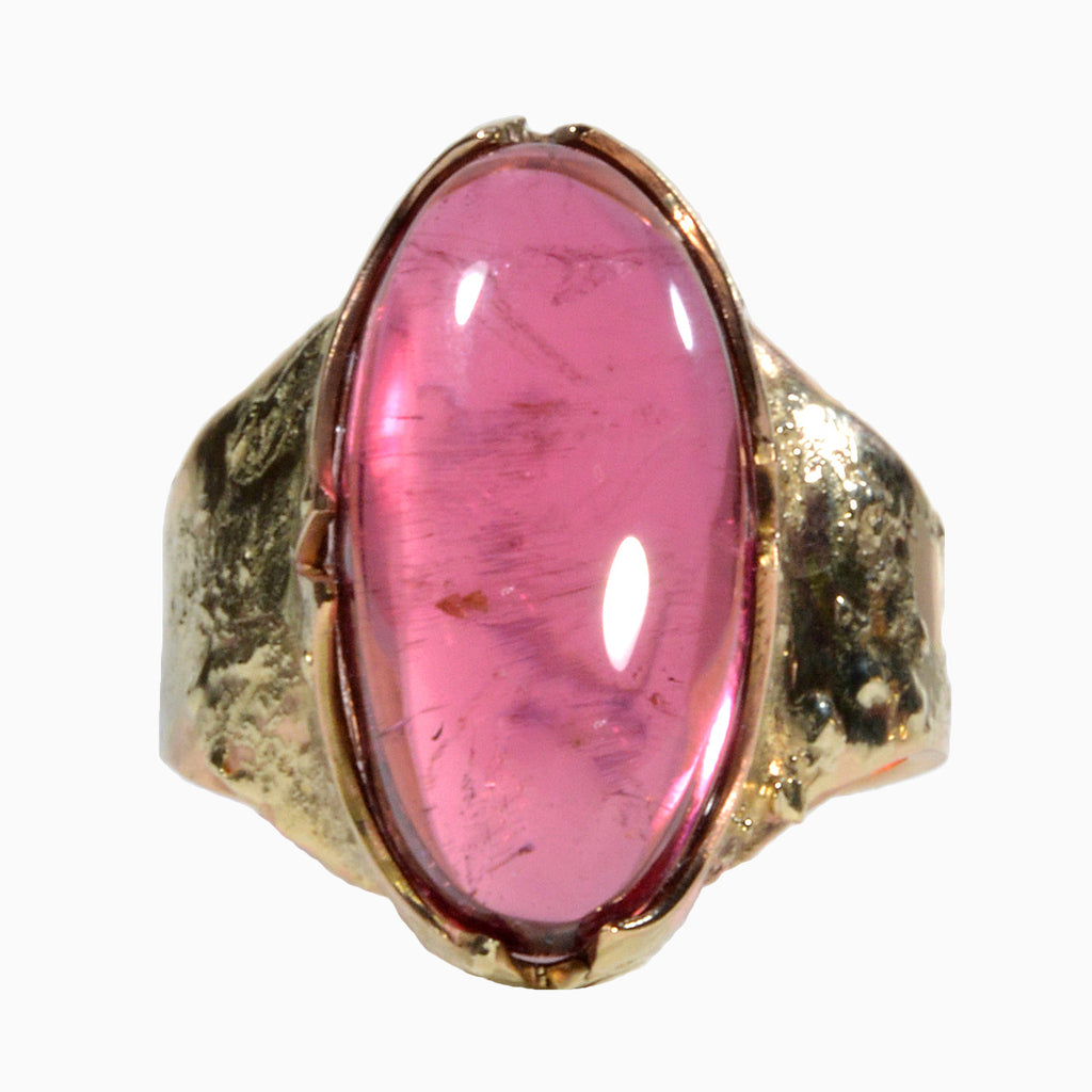 Pink Tourmaline 12.26 carats Cabochon 14K Handcrafted Gemstone Ring