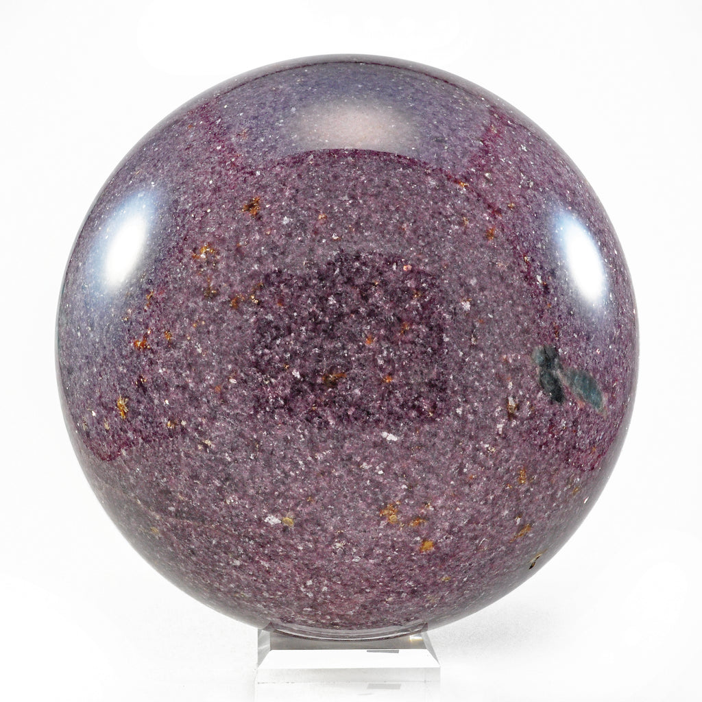Lepidolite 8 inch 26.5 lbs Natural Crystal Polished Sphere with Blue Apatite