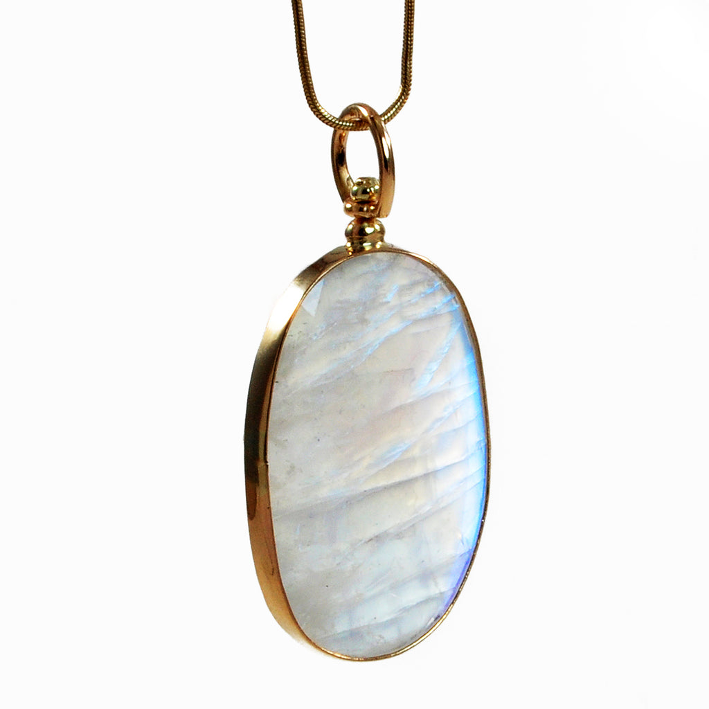 Moonstone 31.90 mm 16.70 ct Handcrafted 14K Faceted Natural Gemstone Pendant