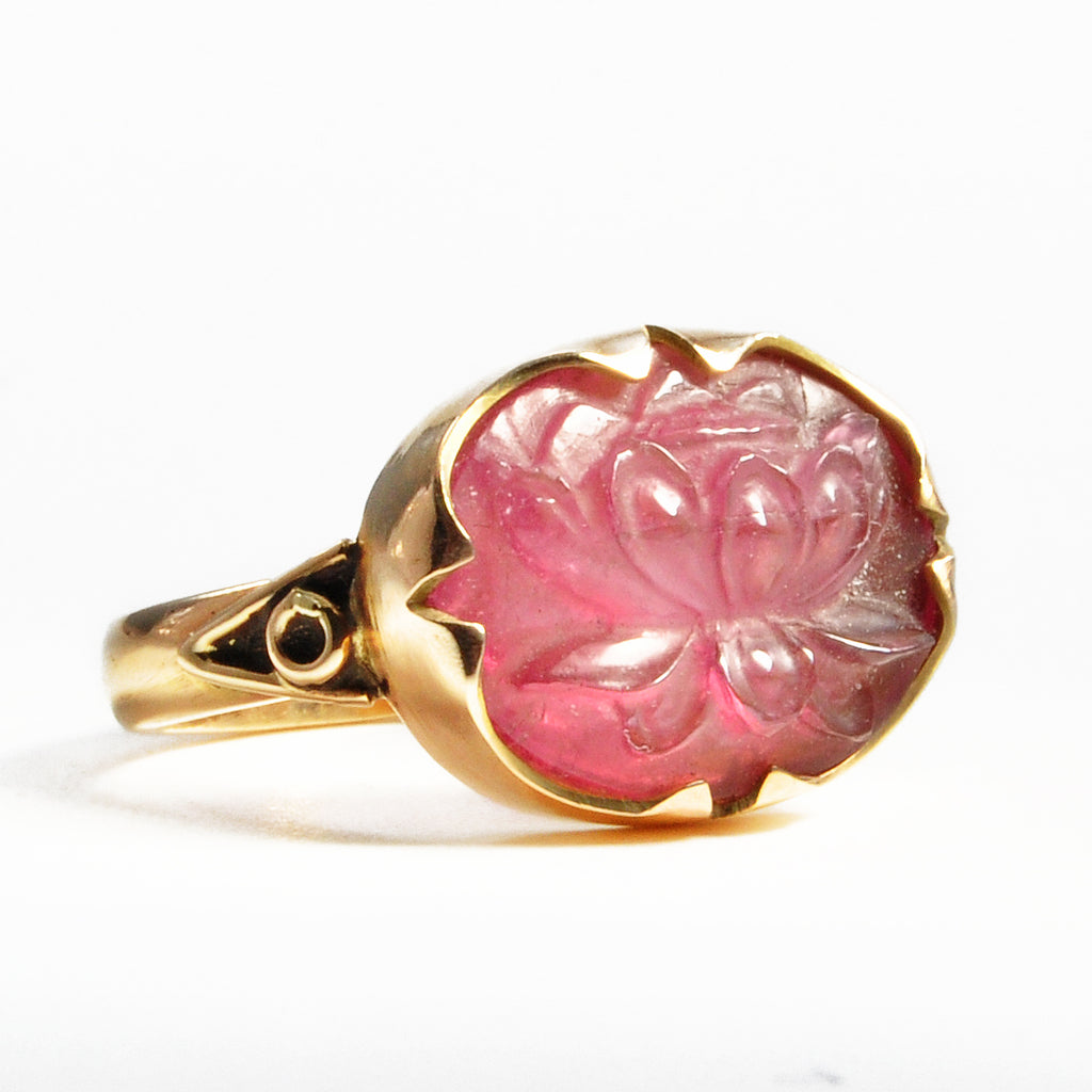 Carved Pink Tourmaline Lotus 7.86ct 14k Handcrafted Gemstone Ring