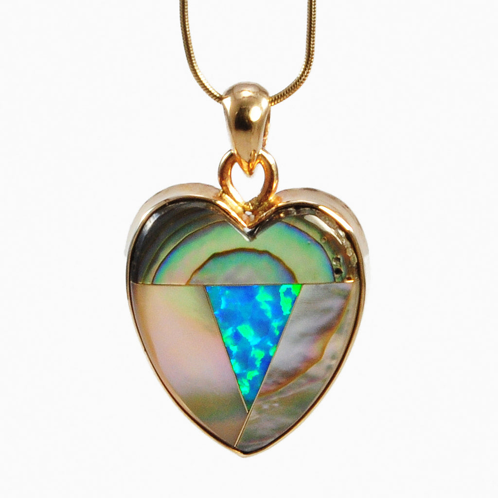 Opal and Abalone 21.27ct 24.13mm Heart-Shaped Intarsia 14K Handcrafted Gemstone Pendant