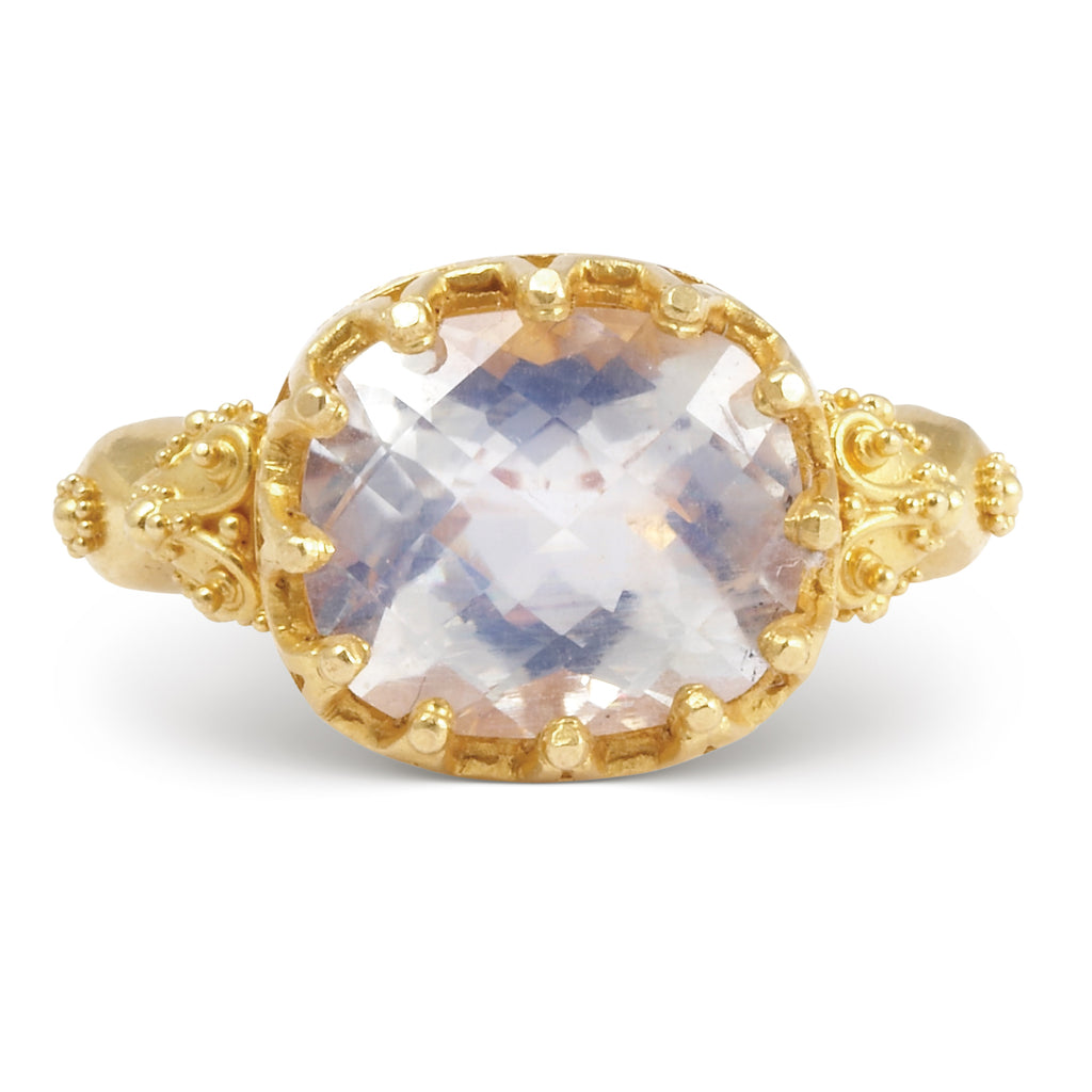Gem Blue Moonstone 6.56 ct Faceted 22k Handcrafted Gemstone Ring