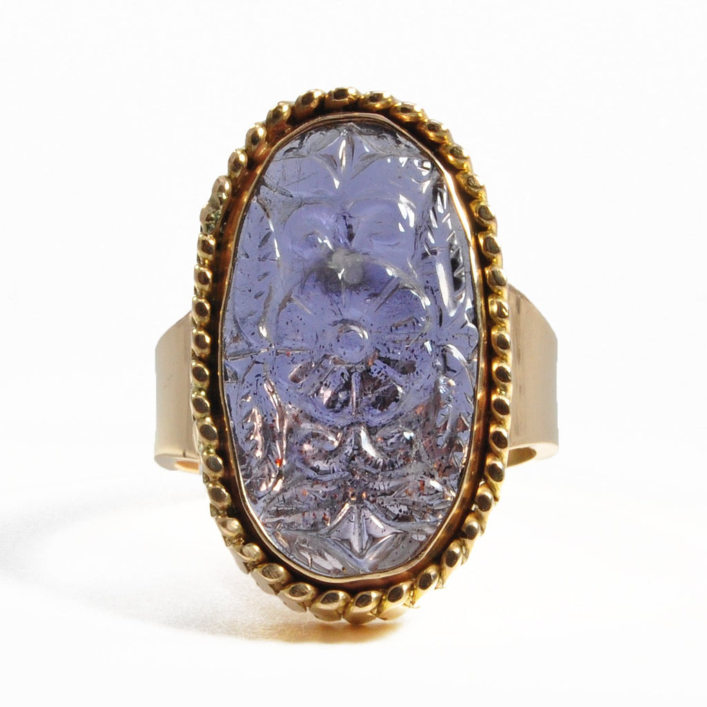 Tanzanite 6.34ct Floral Carving 14k Gold Handcrafted Gemstone Ring