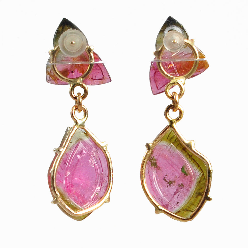 Bi-Color Tourmaline 33.0mm 16.13ct Pink and Green Leaf Carving Natural Crystal Handcrafted 14K Gemstone Earrings