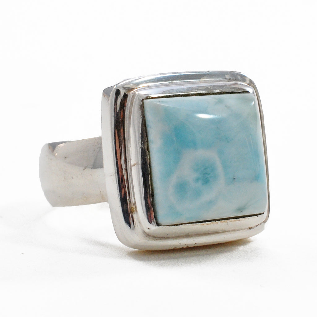 Larimar 11.91 mm Square Cabochon Natural Crystal Sterling Silver Ring