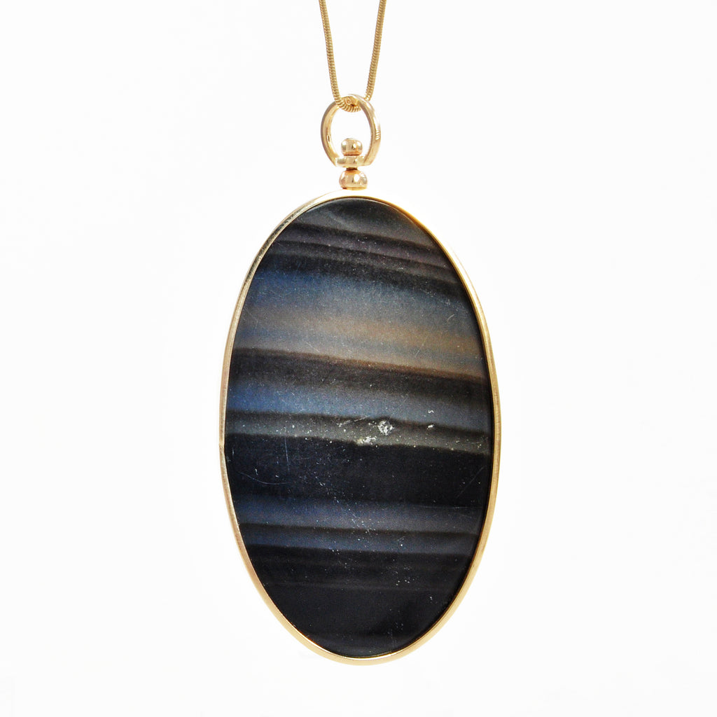 Rainbow Obsidian 50.07mm 88.21 ct Oval Cabochon 14K Handcrafted Swivel Pendant