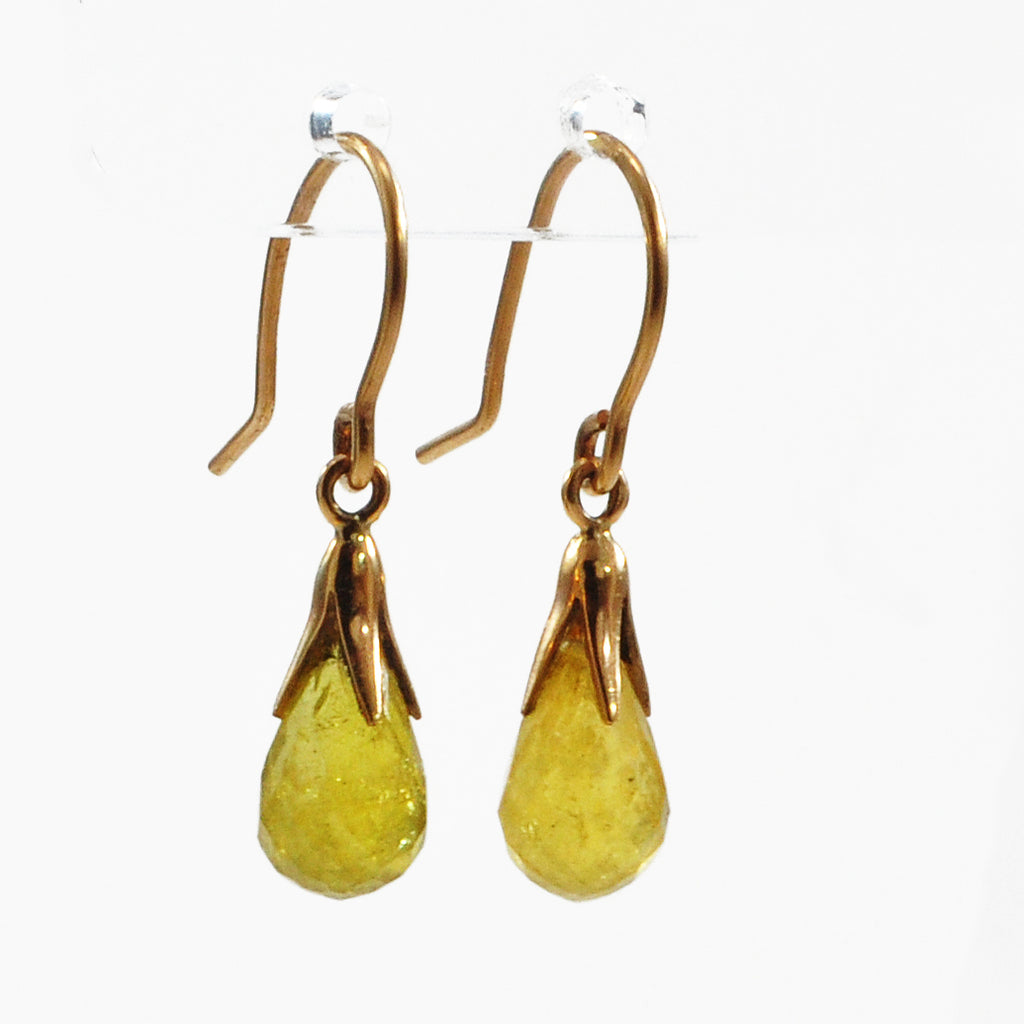 Faceted Yellow Tourmaline 9.15 ct Briolette Earrings