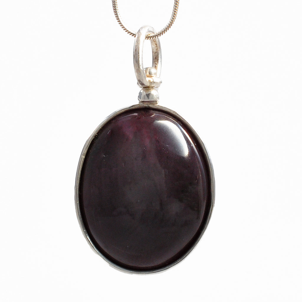 Star Garnet 24.89 mm 72.38 ct Oval Cabochon Sterling Silver Handcrafted Pendant