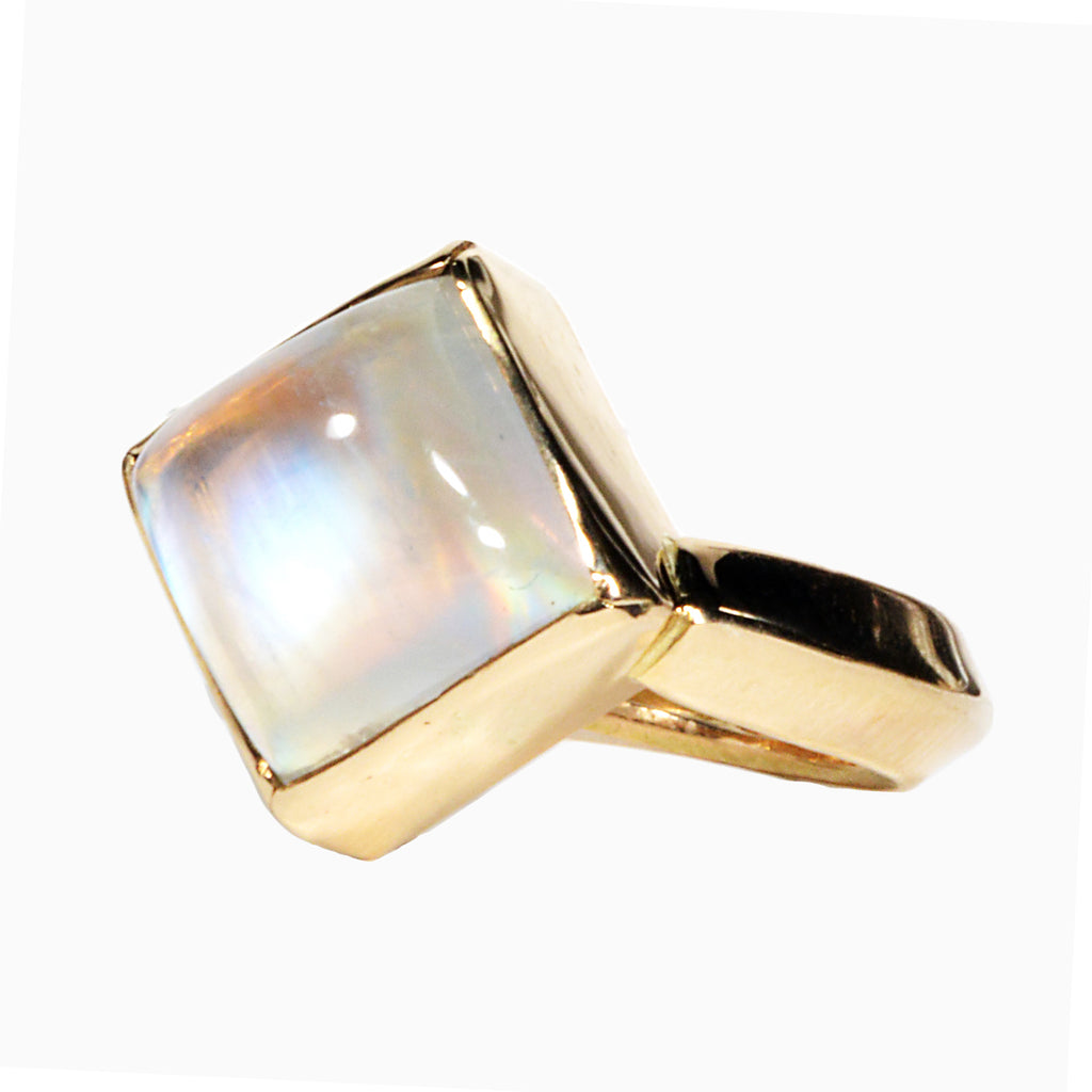 Gem Rainbow Moonstone 9.76 carat Handcrafted 14K Ring