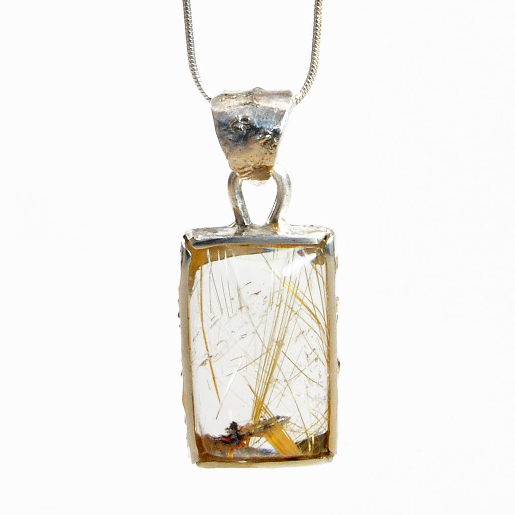 Rutilated Quartz 14.9ct Handcrafted Sterling Silver Textured Pendant