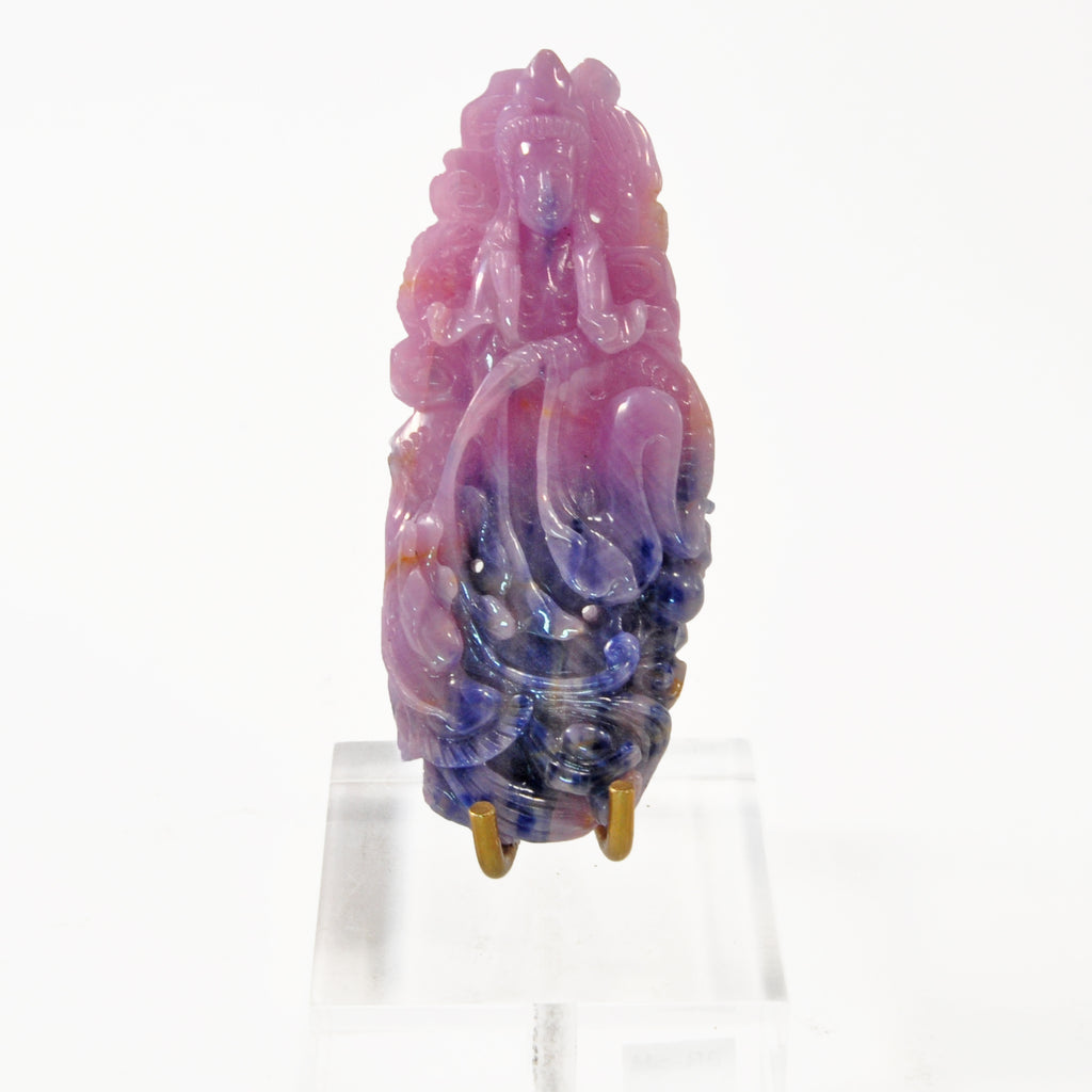 Pink and Blue Sapphire 2.85 inch 38 gram Quan Yin Gemstone Carving