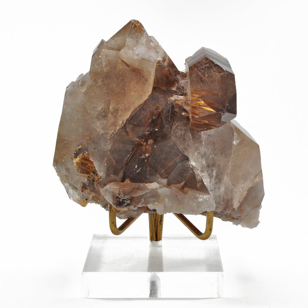 Rutilated Smoky Quartz 4.1 inch 1.1 lbs Natural Crystal Cluster - Brazil