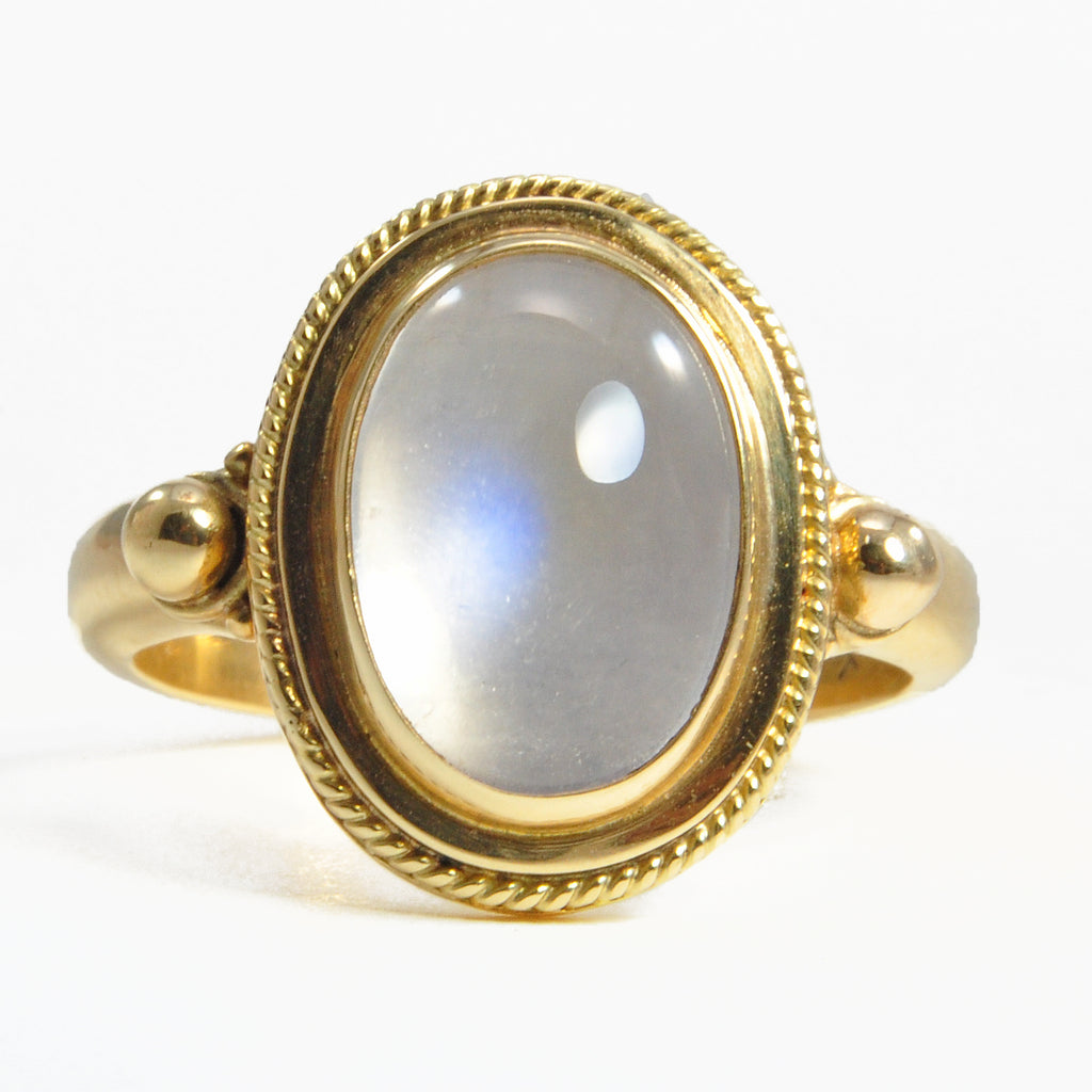Blue Moonstone 13.35 mm 3.91 ct Oval Cabochon 18K Handcrafted Gemstone Ring