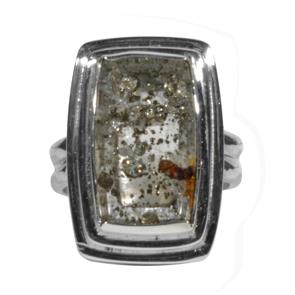 Pyrite in Quartz 16.57 carat Cabochon Handcrafted Sterling Silver Gemstone Ring