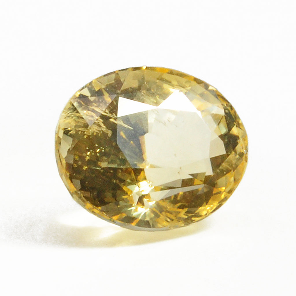 Yellow Sapphire 12.56 mm 7.49 carats Faceted Oval Natural Gemstone