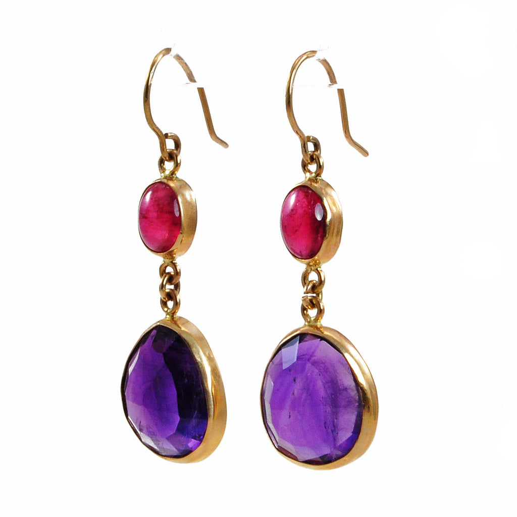 Amethyst with Pink Tourmaline 30.88mm 14.36 ct Handcrafted 14K Gemstone Earrings