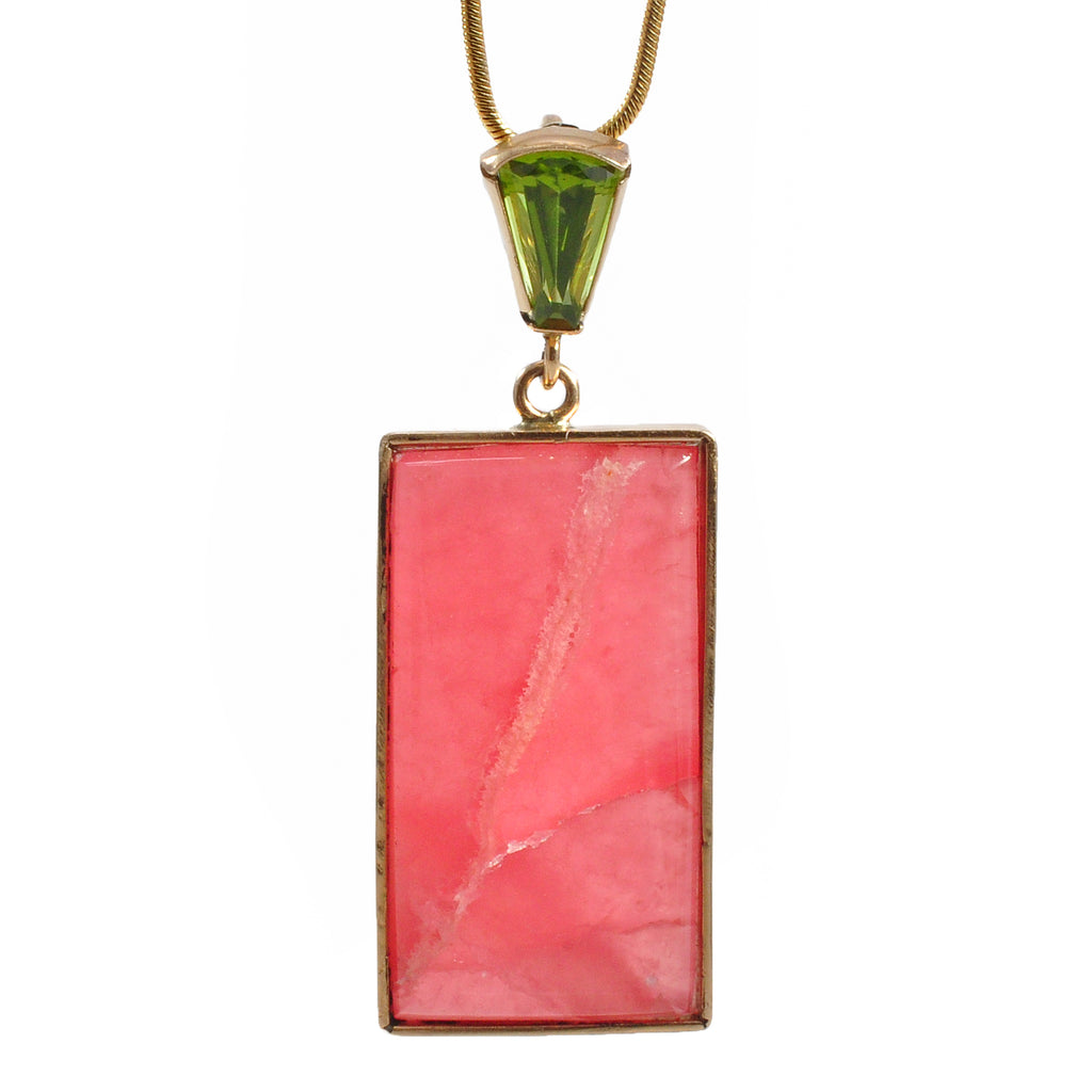 Rhodochrosite 35.81ct with 1.25ct Faceted Peridot Handcrafted 14k Pendant