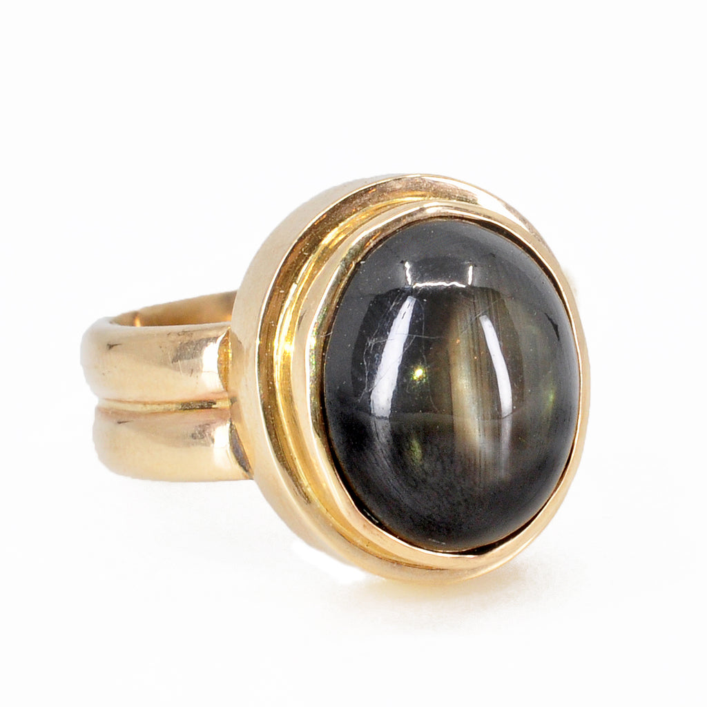 Black Star Sapphire 22 mm 16.26 ct Oval Cabochon 14K Handcrafted Gemstone Ring