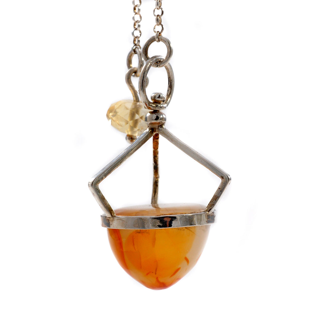 Carnelian 18.82 mm 38.23 ct with Citrine Sterling Silver Handcrafted Gemstone Pendulum