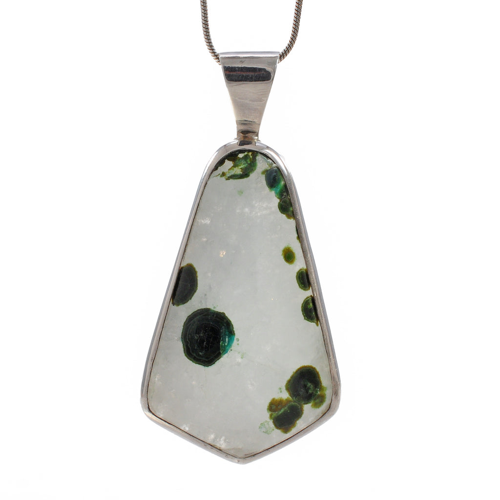 Silicated Chrysocolla and Malachite 32.51 mm Cabochon Sterling Silver Handcrafted Pendant