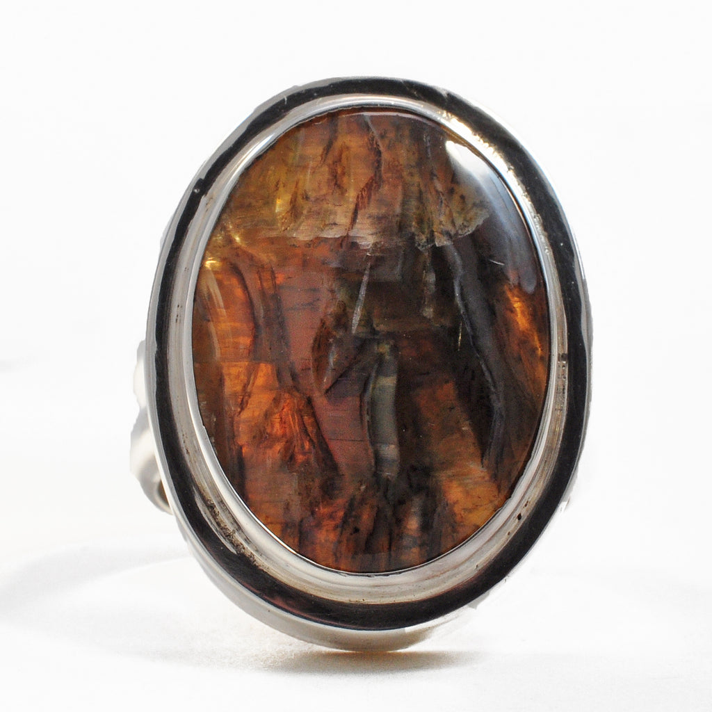 "Arizona ""Tiger's Eye"" 20.97 mm 11.69 ct Oval Cabochon Sterling Silver Handcrafted Ring"