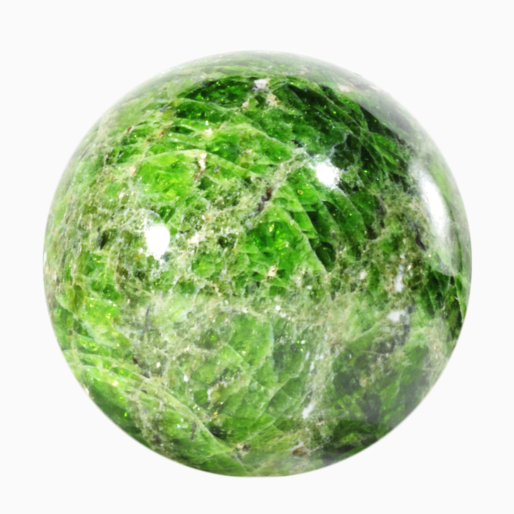 Chrome Diopside 2.24 inch 298 gram Natural Crystal Sphere - Russia