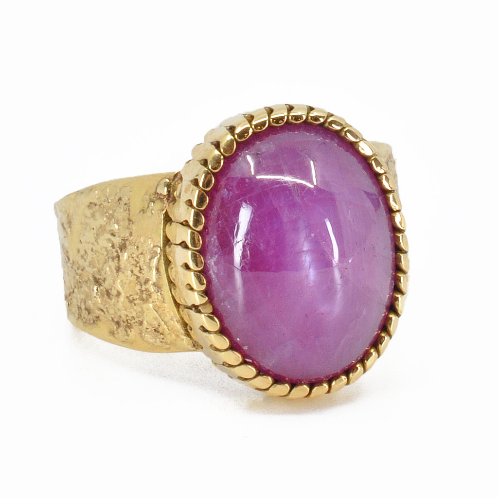 Pink Sapphire 13.67 mm 12.46 ct Oval Cabochon 18K Handcrafted Gemstone Ring