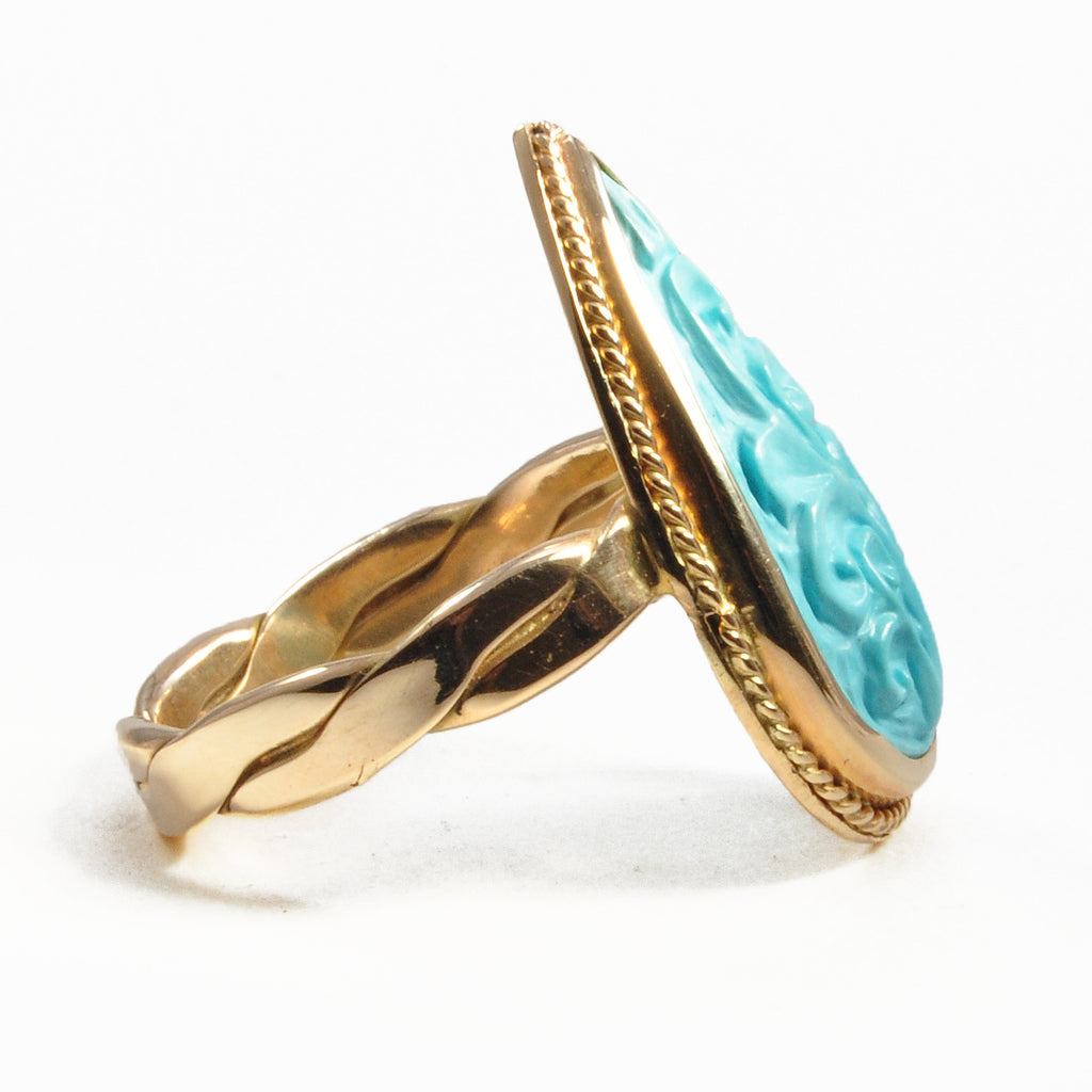 Turquoise Floral Filigree 6.4ct Teardrop 14k Gold Handmade Ring