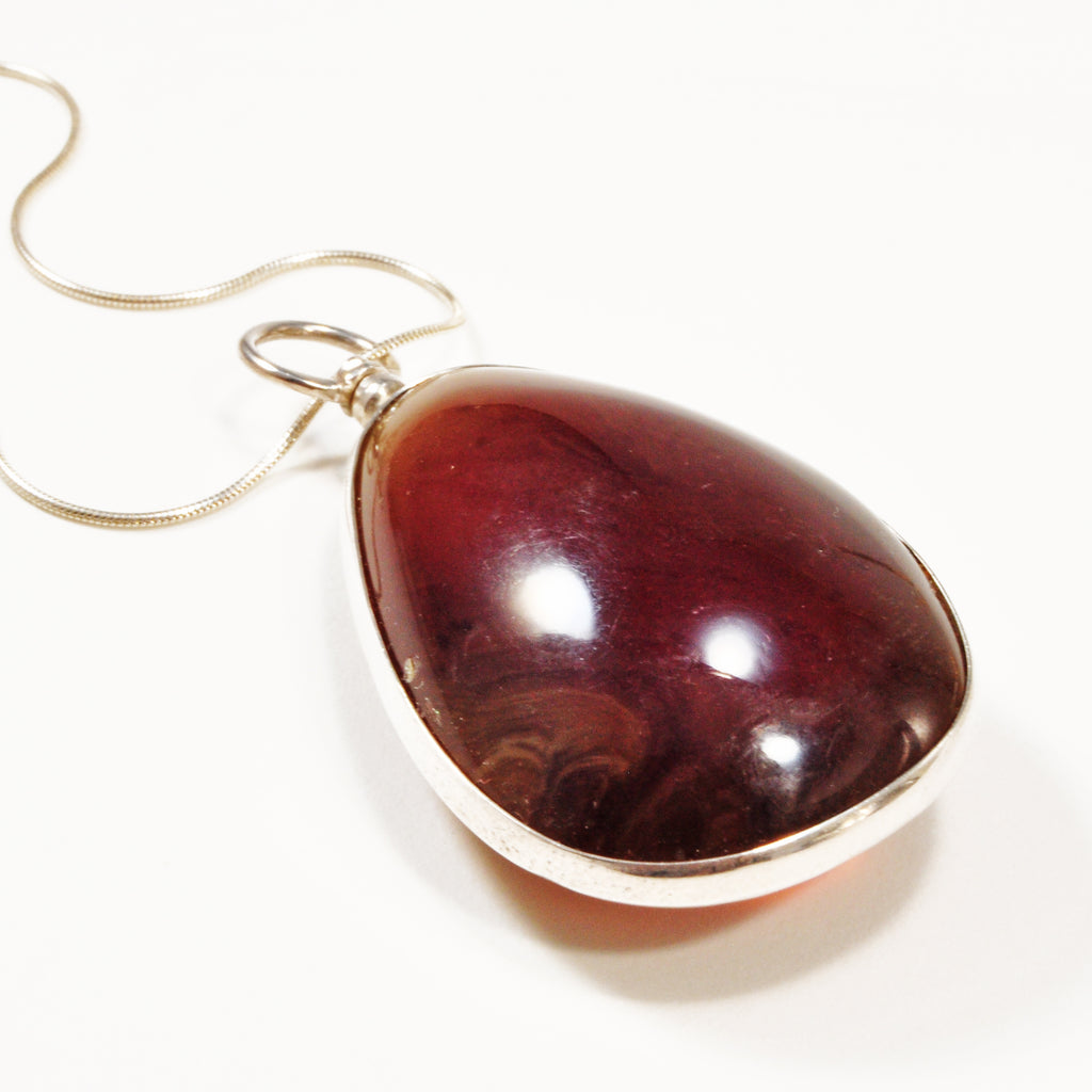Cherry Amber 34.56ct Polished Teardrop Handcrafted Sterling Silver Pendant