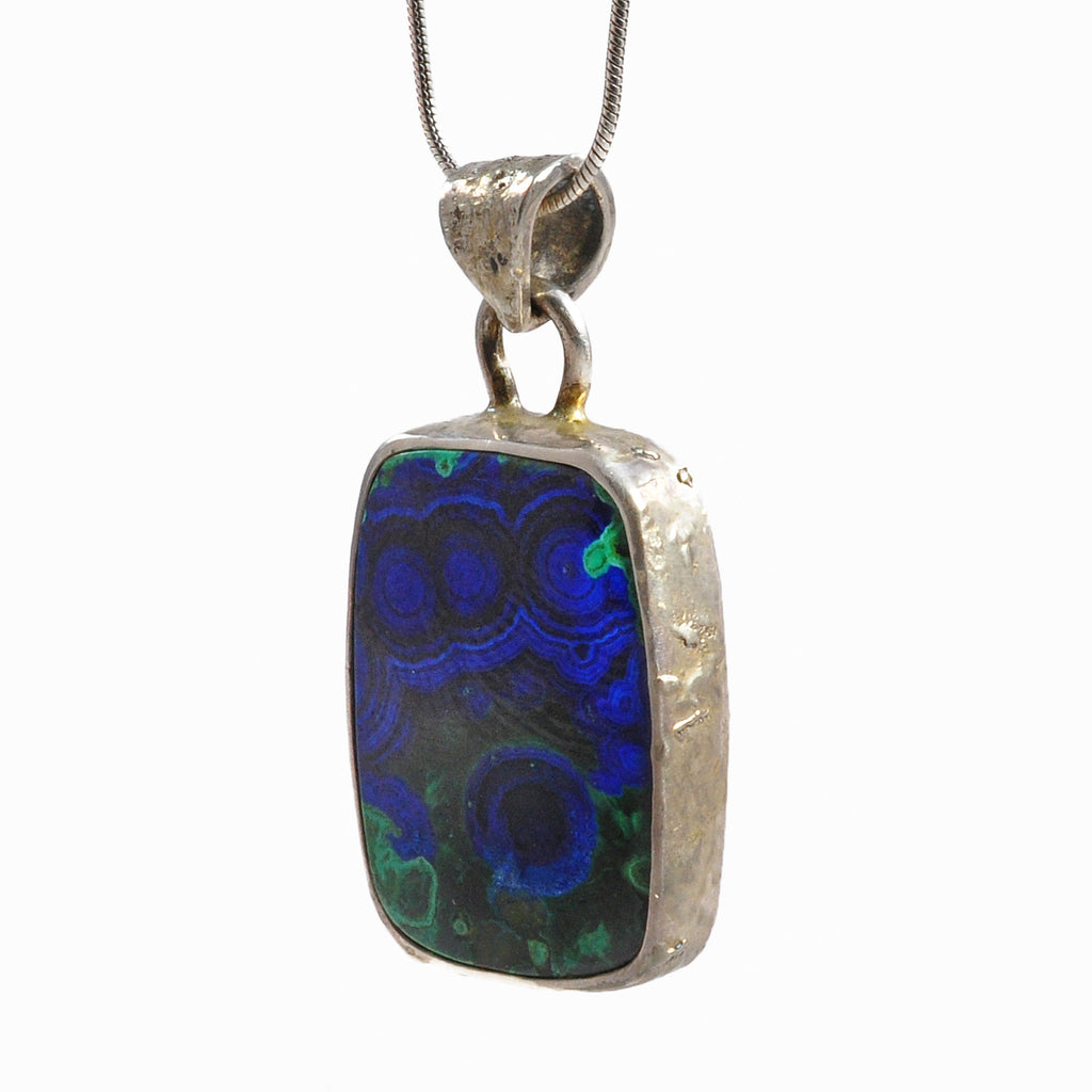 Azurite with Malachite 22.74 mm 17.66 ct Rectangle Polished Cabochon Sterling Silver Handcrafted Pendant