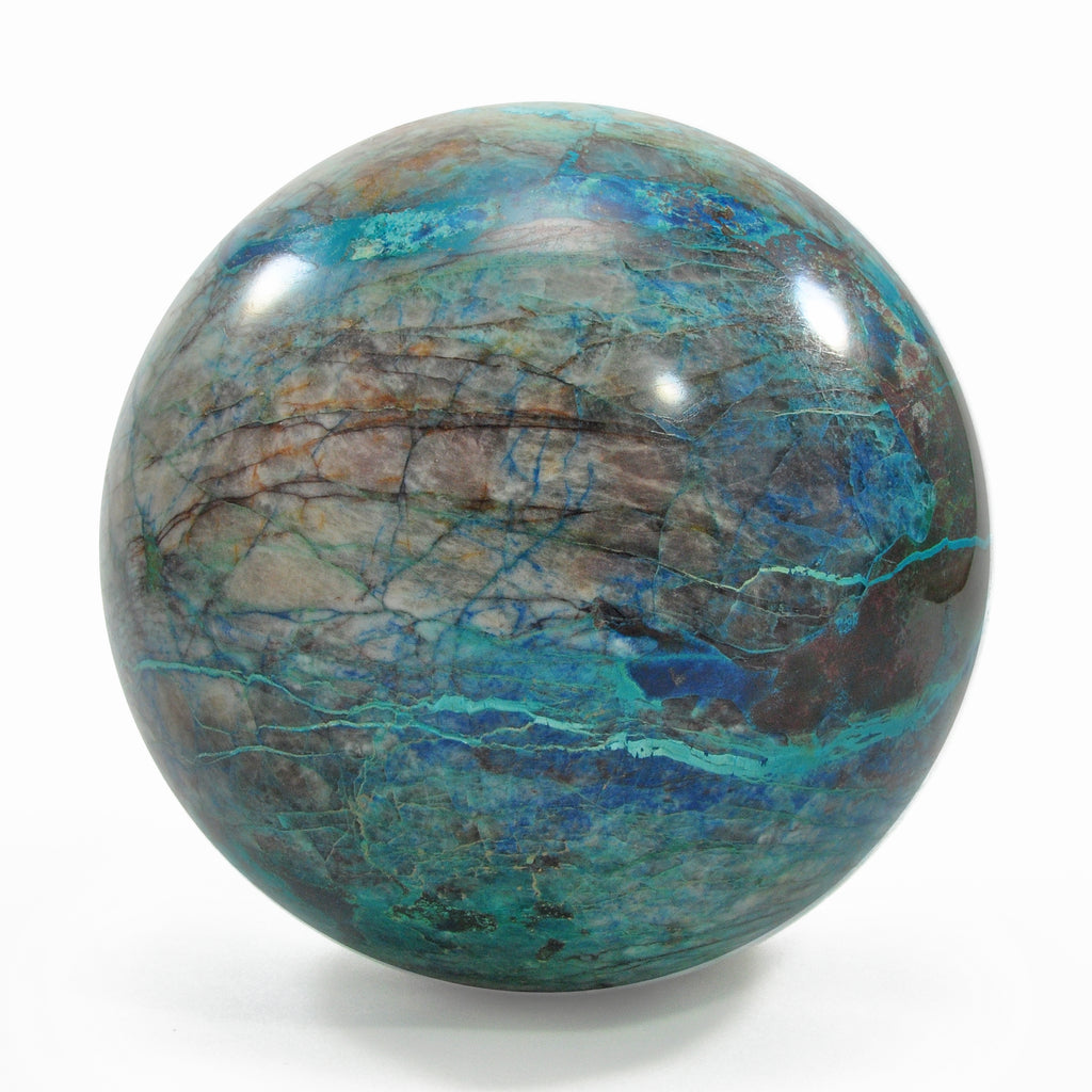 "Shattuckite with Chrysocolla 4.08"" 3.42Lbs Natural Crystal Polished Sphere"