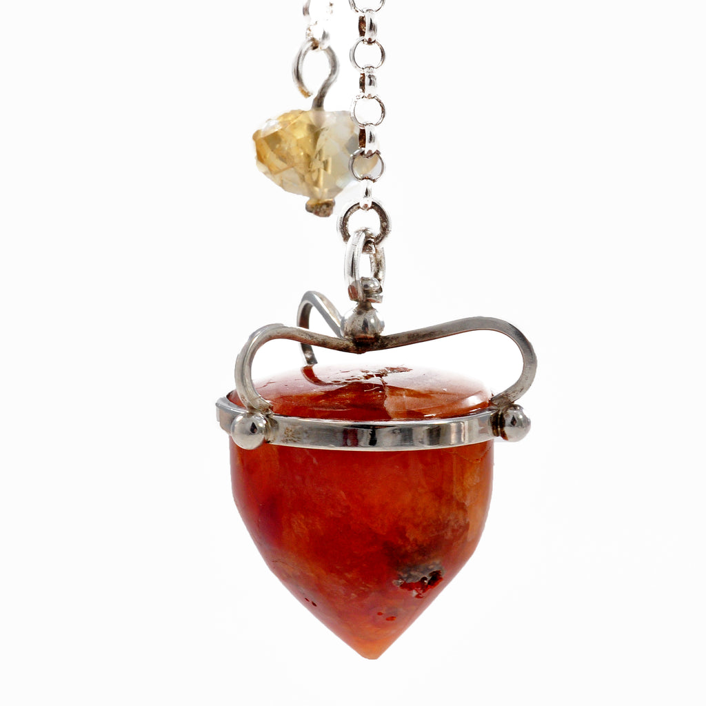 Carnelian 24.83 mm 78.8 ct with Citrine Sterling Silver Handcrafted Gemstone Pendulum