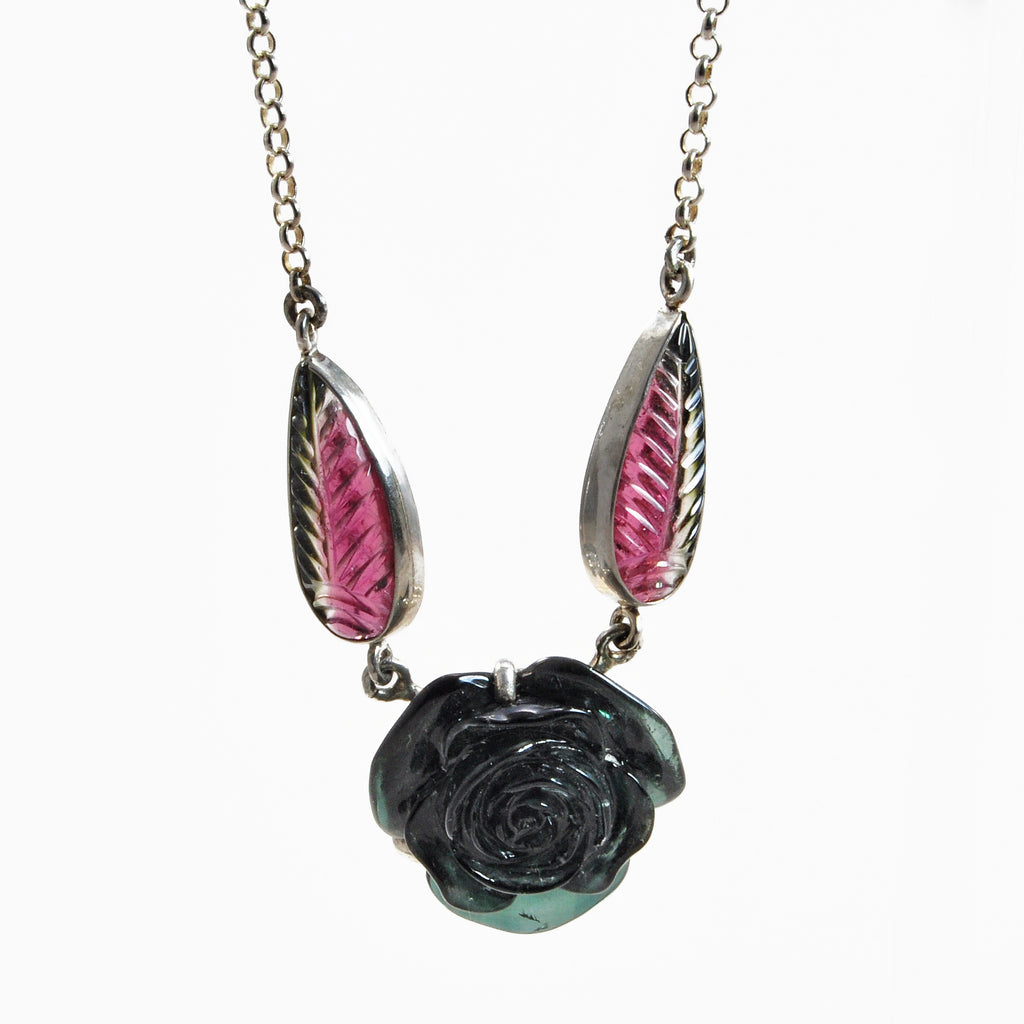 Tourmaline Rose Floral Carving 20.48ct Sterling Silver Handcrafted Gemstone Necklace