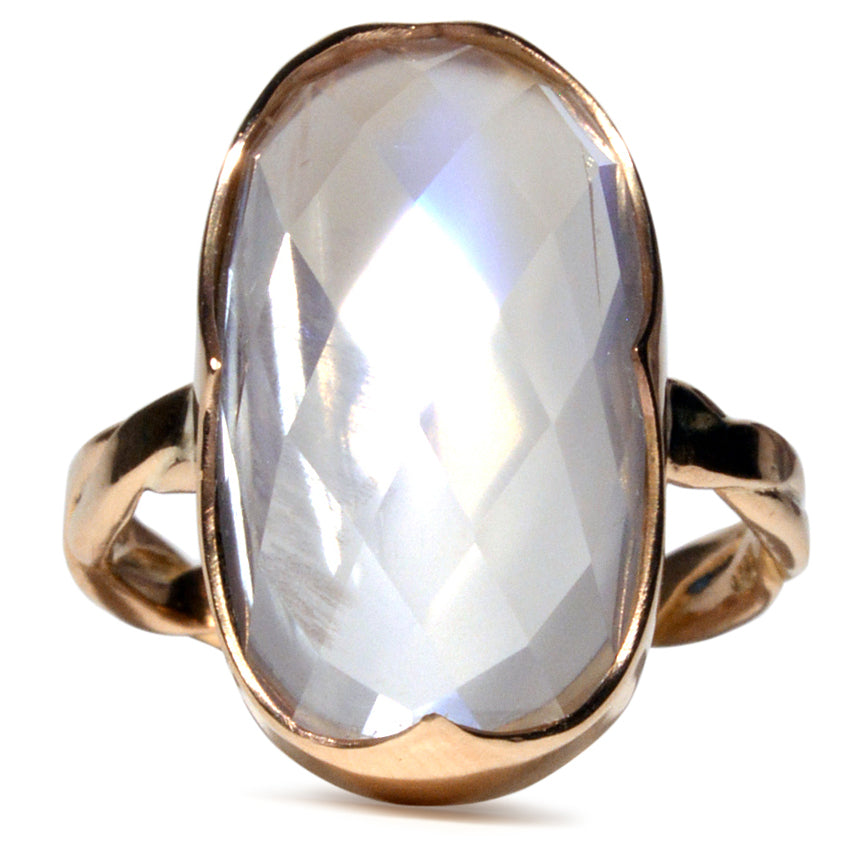Moonstone 14.12ct Faceted 14K Handcrafted Ring