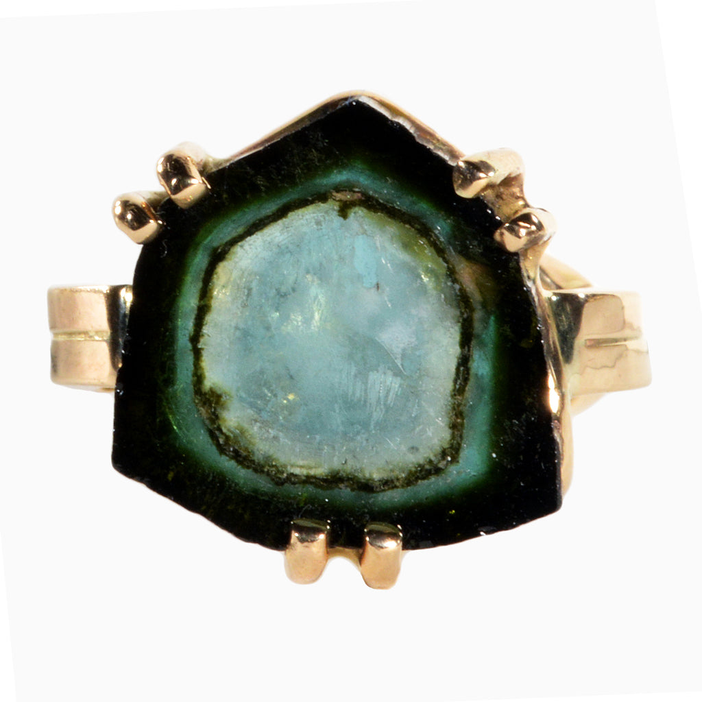 Blue-Green Watermelon Tourmaline 9.58 carats Slice 14K Handcrafted Gem Crystal Ring