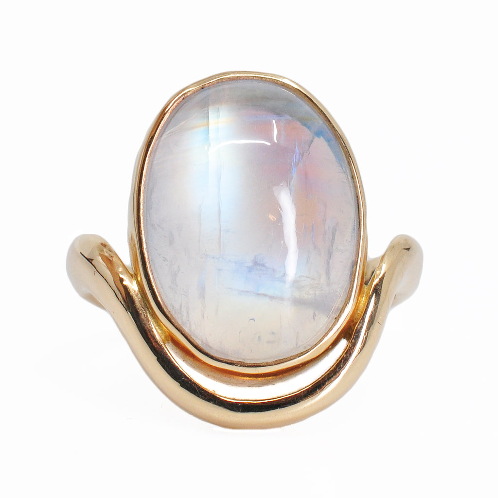 Blue Moonstone 18.6 mm 14.49 carat Oval Cabochon 14K Handcrafted Gemstone Ring