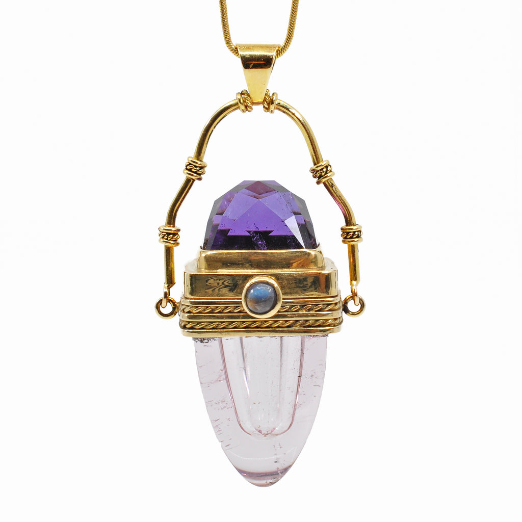 Morganite 24.98 mm 59.5 cts with Amethyst and Moonstone 18K Handcrafted Gemstone Vessel Pendant