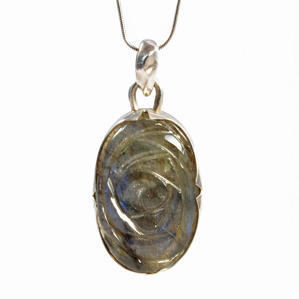Labradorite 1.21 inch Sterling Silver Carved Rose Natural Gemstone Pendant