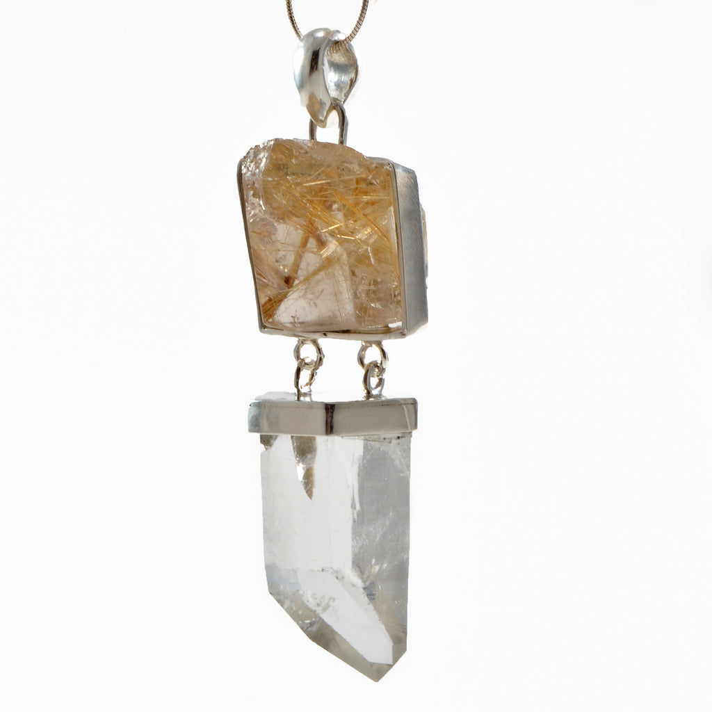 Rutilated Quartz & Clear Quartz Natural Crystal Sterling Silver Handcrafted Pendant
