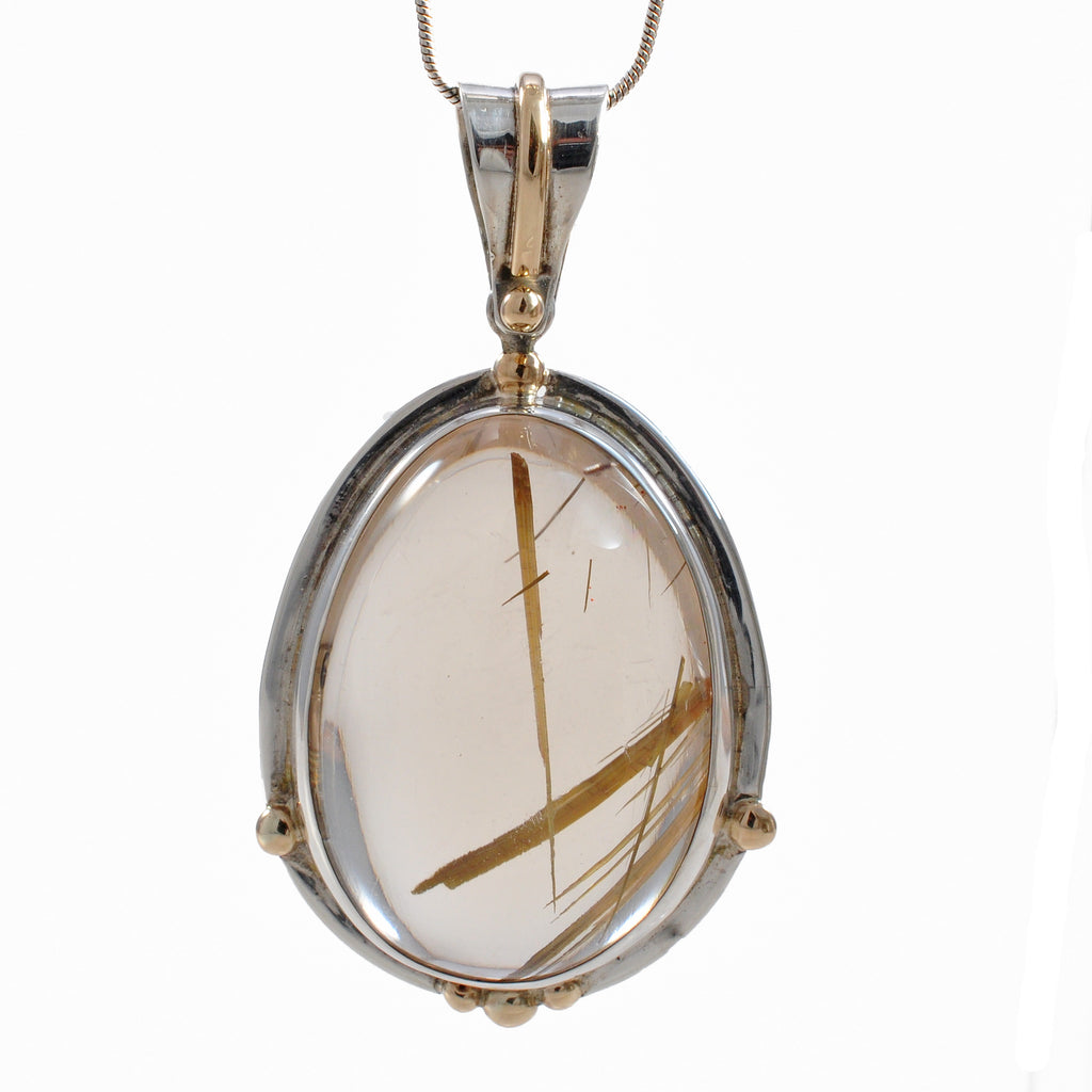 Rutilated Quartz 28.25 mm Cabochon Sterling Silver with 18K Handcrafted Gemstone Pendant
