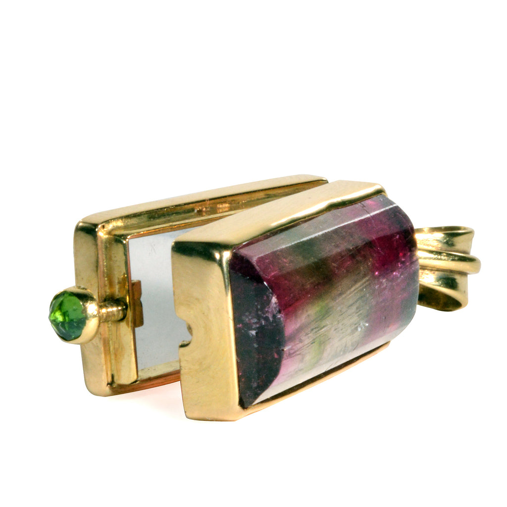 Multi-Color Tourmaline 13.42 carat 18K Handcrafted Natural Gemstone Vessel Pendant