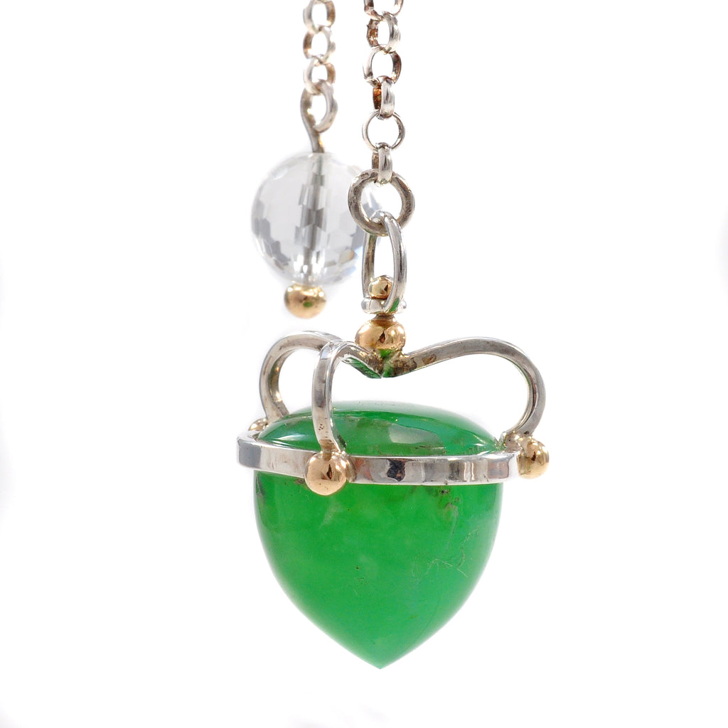 Chrysoprase 18.76 mm 38.77 ct with Quartz Sterling Silver with 14K Handcrafted Gemstone Pendant